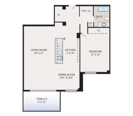 1 Bedroom 1 Bathroom. 1100 sq. ft.