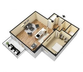 3D Furnished. 1 Bedroom 1 Bathroom. 1100 sq. ft.