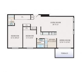 2 Bedroom  2 Bathroom. 1460-1600 sq. ft.