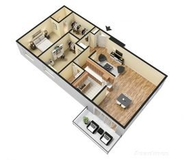 3D Furnished. 2 Bedroom 2 Bathroom. 1460-1600 sq. ft.