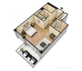 3D Furnished. Studio 1 Bathroom. 625 sq. ft.