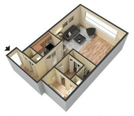 Studio 3D Furnished. 1 Bathroom. 825 sq. ft.