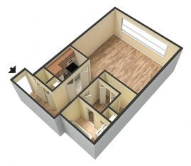 Studio 3D Unfurnished. 1 Bathroom. 825 sq. ft.