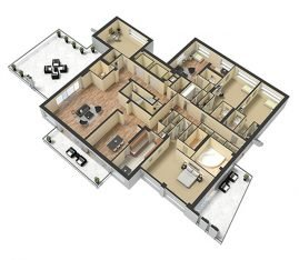 3D Furnished. 3 Bedroom 2 Bathroom. 1800 sq. ft.